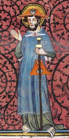 Les Grandes chroniques de France 1332-1350 Royal MS 16 G VI Folio 165r Medieval Life, Medieval Art, 14th Century Clothing, Pilgrim Clothing, Medieval Embroidery, Art Antique, Plantagenet, Saint Jacques, Medieval Costume