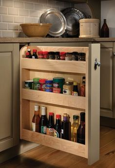 Base Pull-Out Spice Rack - traditional - Kitchen - Other Metro - Wood-Mode Fine Custom Cabinetry Kitchen Cabinet Storage, Kitchen Cabinetry, Kitchen Organization, Kitchen Shelves, Fine Furniture, Kitchen Furniture, Kitchen Decor, Furniture Projects, Wood Furniture