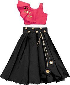 Shoryam Fashion Girl's Designer tafeta Silk gorgeous girl's Lehenga Choli with mirror work Girls Frock Design, Long Dress Design, Baby Dress Design, Kids Dress Wear, Kids Gown, Party Wear Dresses, Kids Wear, Kids Blouse Designs, Choli Designs