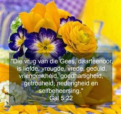 Afrikaanse Inspirerende Gedagtes & Wyshede: Die vrug van die Gees, daareentoor, is liefde, vre. Inspirational Bible Quotes, Inspiring Quotes About Life, Prayer Book, Prayer Quotes, Scripture Verses, Bible Verses Quotes, Happy Emoticon, Bible Journaling For Beginners, Afrikaanse Quotes