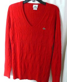 LACOSTE Alligator Pullover Red V-Neck Cable Knit Cotton Sweater Size 42 #Lacoste #Pullover #Casual