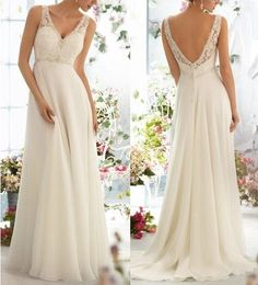 Elegant and charming Bridal gown Beading Formal evening prom dress Sexy V-neck Wedding Dresses White / Ivory Spaghetti straps wedding custom...