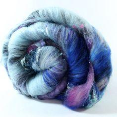 Drum Carded Wool Fiber Batt - Merino, BFL, Polwarth, Silk Noils, Silk, Corriedale, Sparkle - Blue Beast