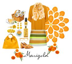 """Marigold"" by christinemusal ❤ liked on Polyvore featuring OPI, Jaeger, Gucci, Chico's, Pantos, VANINA, Memo Paris, Kim Rogers, Tarina Tarantino and Alex Monroe"