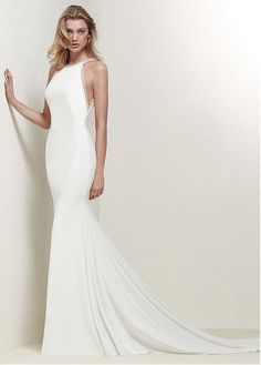 Modest Acetate Satin Jewel Neckline Natural Waistline Mermaid Wedding Dress With Beadings