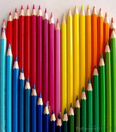 valentine heart made with various shades of colored pencils makes a pretty rainbow photograph. Very creative. Image Crayon, I Love Heart, My Love, Color Heart, Photo Macro, Rainbow Connection, Over The Rainbow, Rainbow Heart, Rainbow Crayon