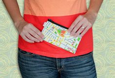 Cotton zipper pouch with Tel Aviv map print   wallet / by efratul, $12.00
