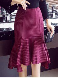Fitted Striped Mermaid Skirt - WINE RED