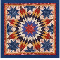 Americana-inspired fabrics steal the show in this lone star wall hanging. Abrupt changes from light to dark quilting prints make this small project shine. A trio of borders visually contains the star./