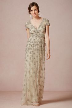 Gorgeous beading and champagne color in this Ranna Gill for BHDLN dress.