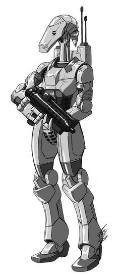 Star Wars Rpg, Star Wars Clone Wars, Sci Fi Fantasy, Fantasy World, Star Wars Battle Droids, Robot Concept Art, Artwork Images, Clone Trooper, Star Wars Characters