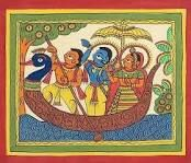 Lord Rama Sita and Lakshmana Riding on a Boat - Folk Art Paintings (Phad Painting on Cloth - Unframed) Madhubani Paintings Peacock, Kalamkari Painting, Madhubani Art, Indian Art Paintings, Simple Paintings, Phad Painting, Worli Painting, Fabric Painting, Painting Styles
