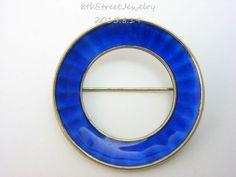 Estate-Einar-Modahl-Sterling-Silver-925-S-BLUE-Enamel-Circle-Pin-Brooch-Norway