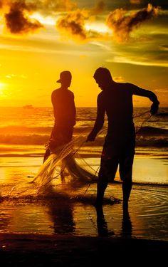 Patong beach fishermen, Thailand