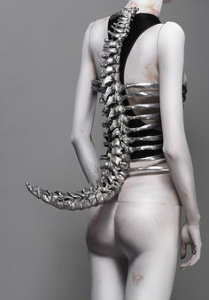 Alexander Mcqueen - Cast Aluminum Corset inspired by Swiss surrealist painter/Sculptor H.R. Giger