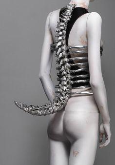Alexander Mcqueen - Cast Aluminum Corset inspired by Swiss surrealist painter/Sculptor H.R. Giger