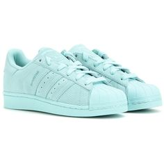 Adidas Superstar Leather Sneakers (€97) ❤ liked on Polyvore featuring shoes, sneakers, turquoise, adidas, leather sneakers, adidas sneakers, adidas shoes and leather shoes
