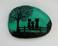 Cat Magnet, Painted Pebble, Cats Painting on Stone, Mother Gift Three Cats, Pebble Art, Cats Family, Children Gift, Kitten Magnet, Stone Art