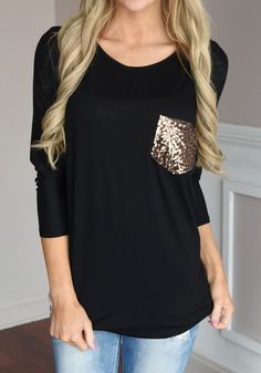 Sleek yet comfy, features with long sleeve and sequin pocket, this black t-shirt is the perfect addition to your wardrobe. See more amazing items at Fichic.com !