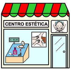 Pictogramas ARASAAC - Centro de estética. Paper Doll House, Paper Dolls, Community Places, Montessori Materials, Spanish, Homeschool, Illustrations, Early Education, Shape Games