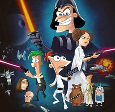 Phineas and Ferb Star Wars. I love that Vanessa is Leia and Ferb is Han, but the best is Buford as Chewy.