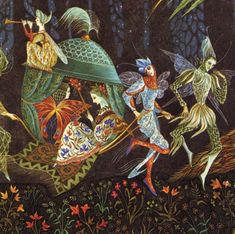 Detail from an Illustration by Errol Le Cain from Thorn Rose (or the Sleeping Beauty) by The Brothers Grimm, published in 1975.