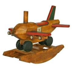 Amazon.com: EXP Antique Style Wooden Airplane Design Decorative Rocking Horse, 30-Inch: Toys & Games