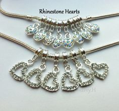 Rhinestone heart dangles . Starting at $5 on Tophatter.com!Euro Bracelet Supplies No.59 March 8, 1pm EST