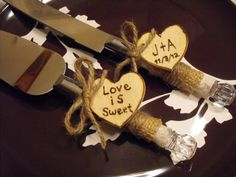 Country Chic Wedding Cake Server And Knife Set by hanscreations, $32.99