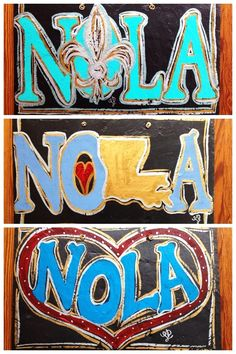 "Fleurty Girl - Everything New Orleans - Nola Slate Sign, $39.95. Hand-painted slate signs with ""NOLA"" in three different styles: state, heart, and fleur de lis."
