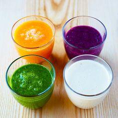 Smoothies zijngezond eneen lekkertussendoortjevoor jong en oud! Maak ze in iedere kleur van de regenboog met je favoriete groente en fruit.    Oranje smoothie  1 Doe de stukjes wortel en mango samen met de geraspte...