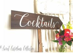 Rustic Cocktails Wedding Sign Directional by SweetNCCollective