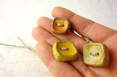 Artisan Ceramic Porcelain Beads Vintage button by greybirdstudio