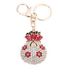 Fashional Jewelry Hollow Shinning Rhinestone Aureate Lucky Bag Pendant Flower Key Ring Key Chain