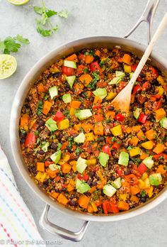 4 Points About Vintage And Standard Elizabethan Cooking Recipes! One Pot Mexican Black Bean Sweet Potato Quinoa Is A Hearty Vegetarian Meal You Can Make In Just One Pot In Under 40 Minutes Vegan Dinner Recipes, Vegan Dinners, Veggie Recipes, Mexican Food Recipes, Whole Food Recipes, Vegetarian Recipes, Cooking Recipes, Healthy Recipes, Potato Recipes