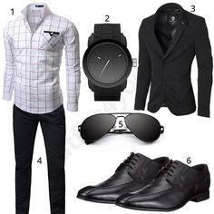 Business-Outfit in Schwarz mit kariertem Hemd (m0432)