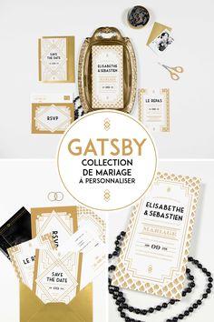 """Save the Date et magnet mariage personnalisé """"Gatsy"""" art déco"""
