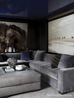 Adore the large scale artwork and the overall moodiness of the room. Via My Two Designers.