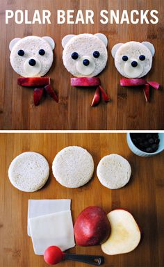 These adorable polar bears are a perfect snack recipe. This cute winter food art is sure to make your kids smile and bring a little extra joy to snack time.