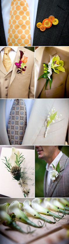 Creative and colorful groom's wedding boutonnieres