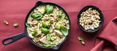 Pasto-broileripannu Some Recipe, Pesto, Fodmap, Risotto, Healthy Recipes, Healthy Food, Lunch, Baking, Vegetables