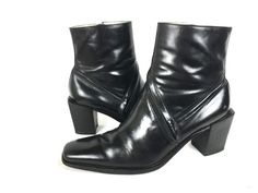 BCBG Boots 6.5 Black LEATHER Slip On Shoes #BCBG #MidCalfBoots #WeartoWork