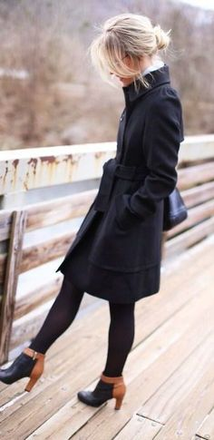Womens black pea coat outfit