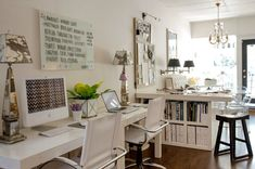 Liz Caan Interiors: Chic office for two with Pair of West Elm Parsons Desk with Drawers in White and West ...