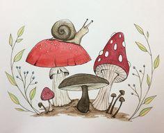 Doodle Drawings, Art Drawings Sketches, Doodle Art, Cute Drawings, Mushroom Drawing, Mushroom Art, Watercolor Illustration, Watercolor Art, Watercolor Journal