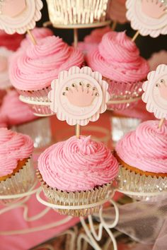 Princess Party Pink Cupcake Toppers with by sweetpeapaperthings, $22.00