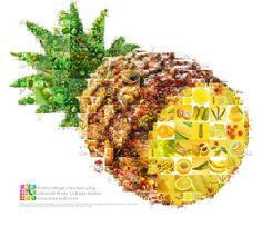 The bright and juicy Fruit and Vegetables collage shaped as a pineapple