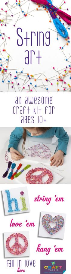 Have a crafty tween or teen? Check out Craft-tastic for modern craft kits that are fast and fun for ages 8+. With our string art kit, simply push pins into canvases and string away! Use our patterns, or design your own. Craft-tastic kits make the perfect gift for creative kids!