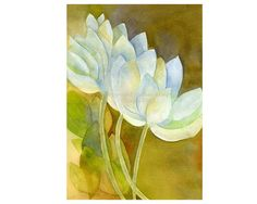 $15.00n Lotus Flower Painting Watercolor Eastern Asian by WildFernFarm     5 x 7