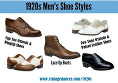 1920s Men's Shoe Styles. Find these and more at VintageDancer.com
